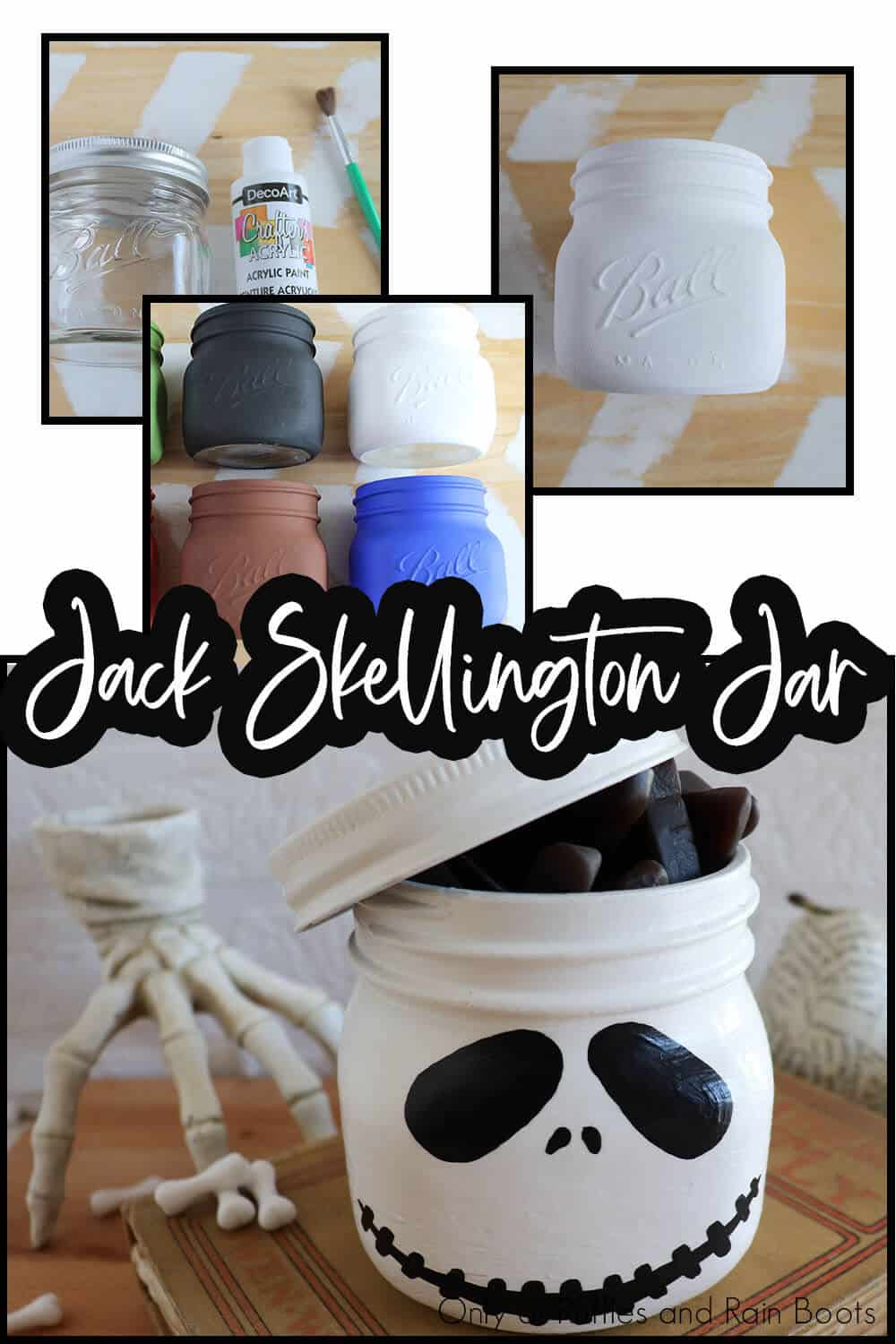 photo collage of easy painted jar for a halloween luminary project with text which reads jack skellington jar