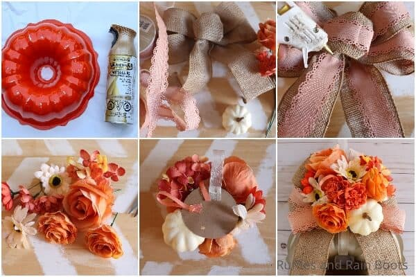 photo collage tutorial of how to make a fall wreath with a bundt pan