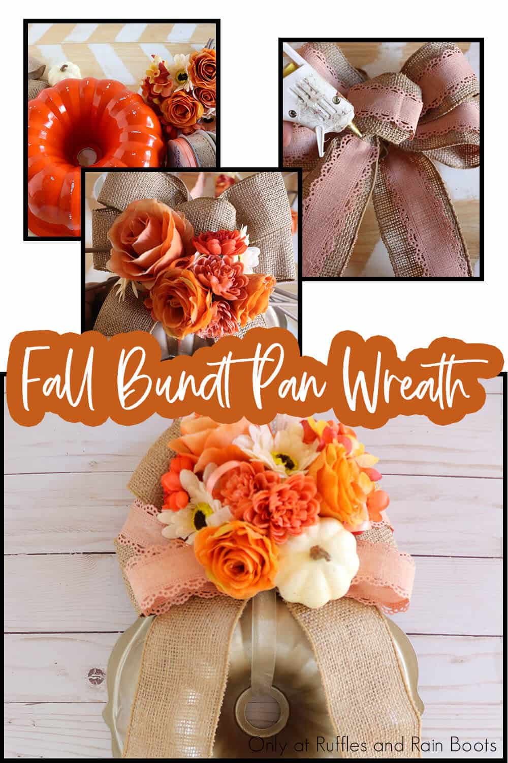 photo collage of easy DIY fall craft using a bundt pan with text which reads fall bundt pan wreath