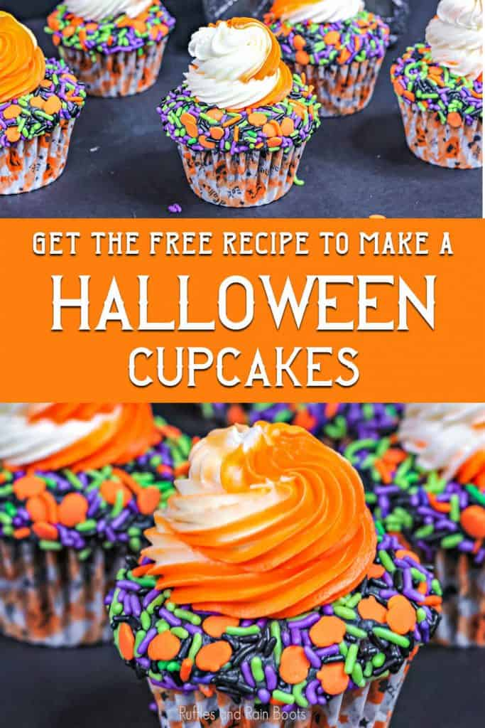 photo collage of easy halloween cupcake decorating idea with text which reads get the free recipe to make halloween cupcakes