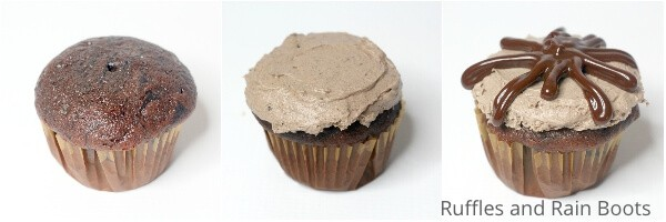 photo collage tutorial of how to make chocolate mousse cupcakes