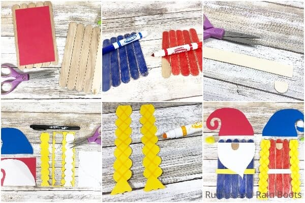 photo collage tutorial of how to make a gnome puppet from popsicle sticks