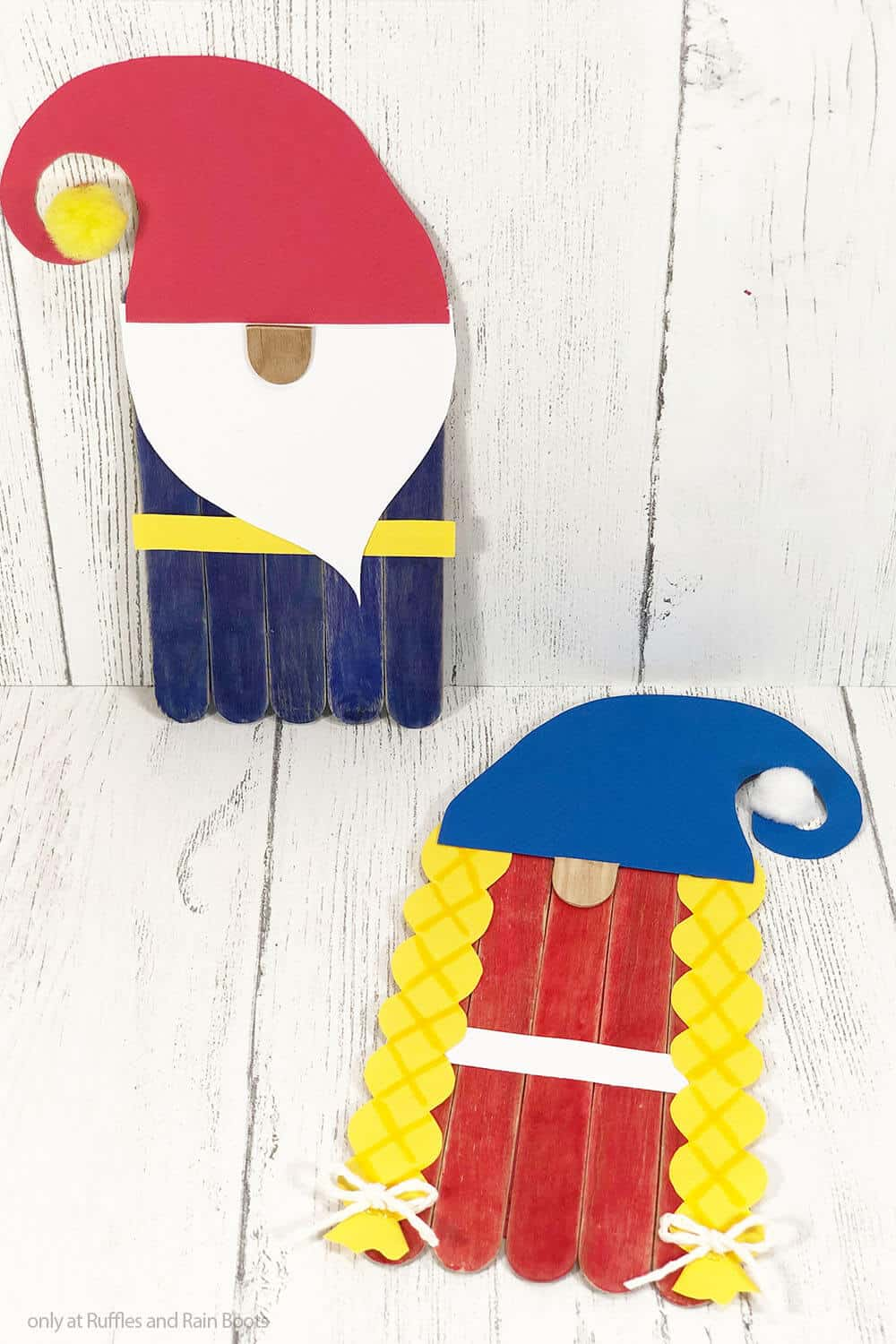 kid made popsicle stick puppet gnomes