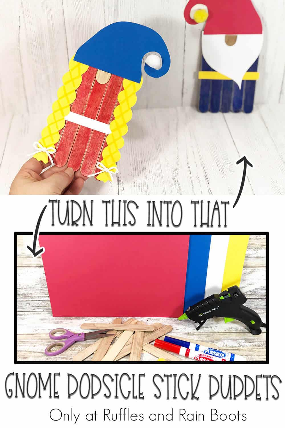 photo collage of easy kids craft gnome puppets from popsicle sticks with text which reads turn this into that gnome popsicle stick puppets