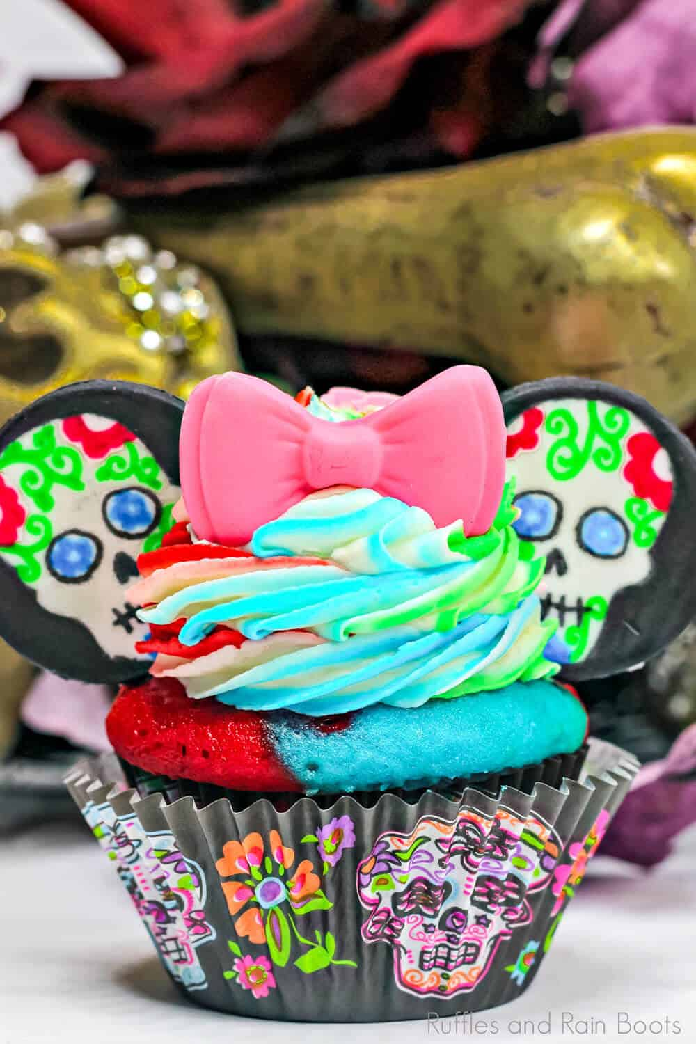 easy minnie cupcakes for day of the dead