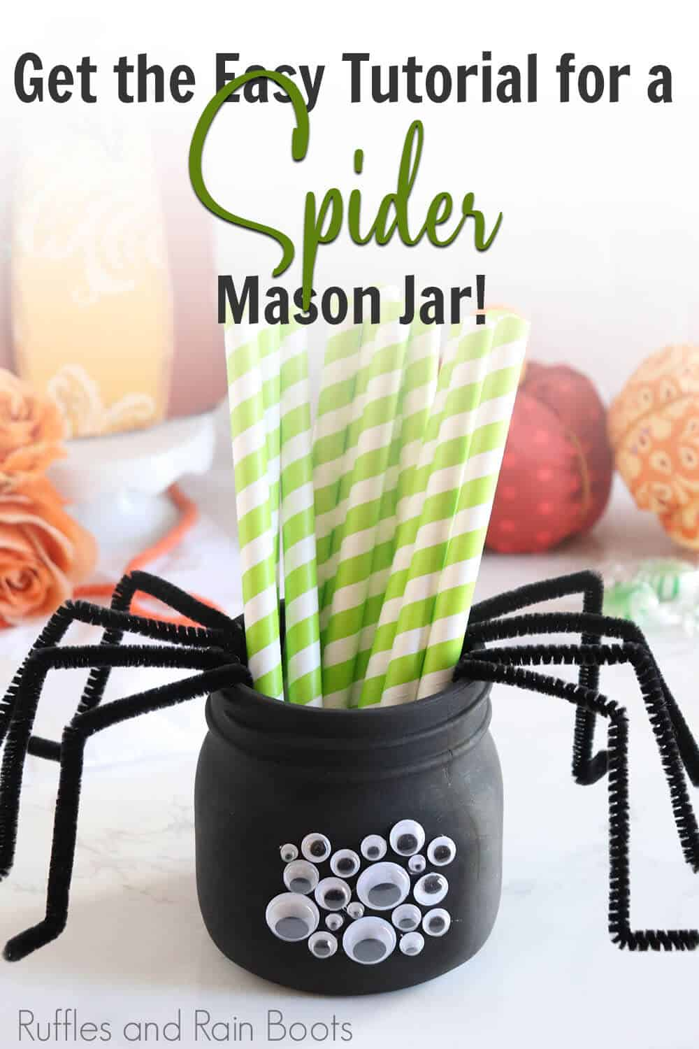 Spider mason jar craft for kids with text which reads get the easy tutorial for a spider mason jar!