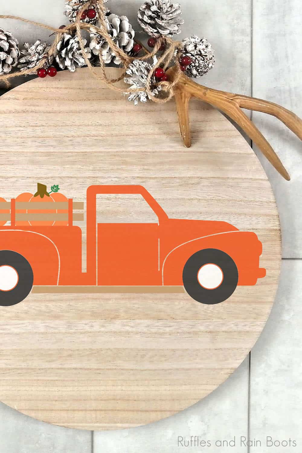 fall farm truck cut file set for cricut or silhouette on a wood round sign