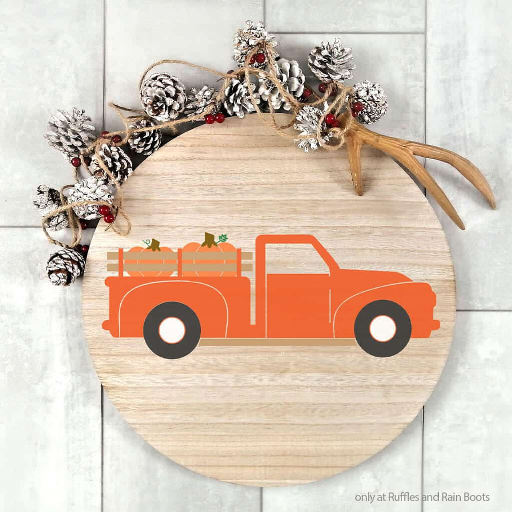 wood sign with a fall farm truck cut file set for cricut or silhouette