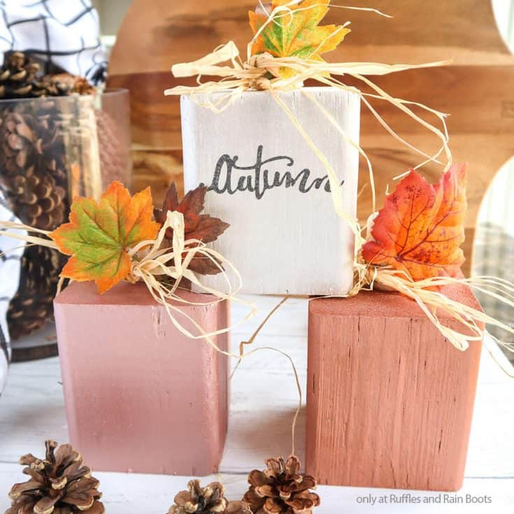 closeup of easy fall wood craft pumpkin