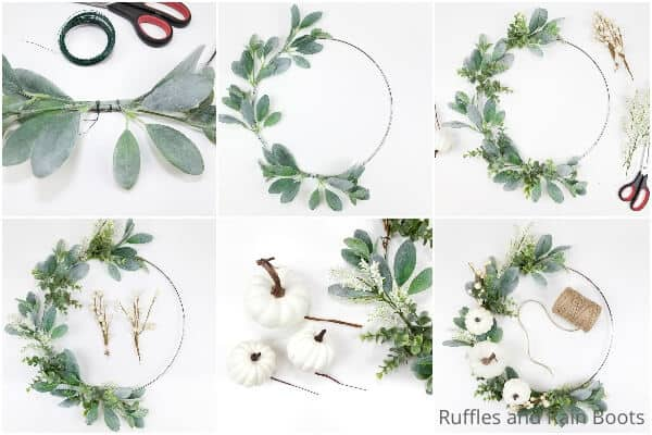 photo collage tutorial of how go make a minimalist fall wreath with pumpkins