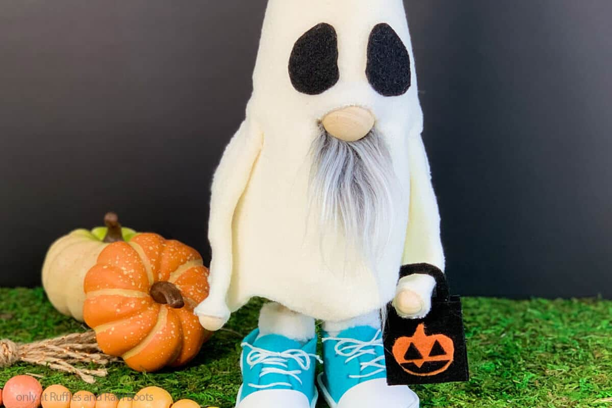 easy diy cone gnome wearing a ghost costume