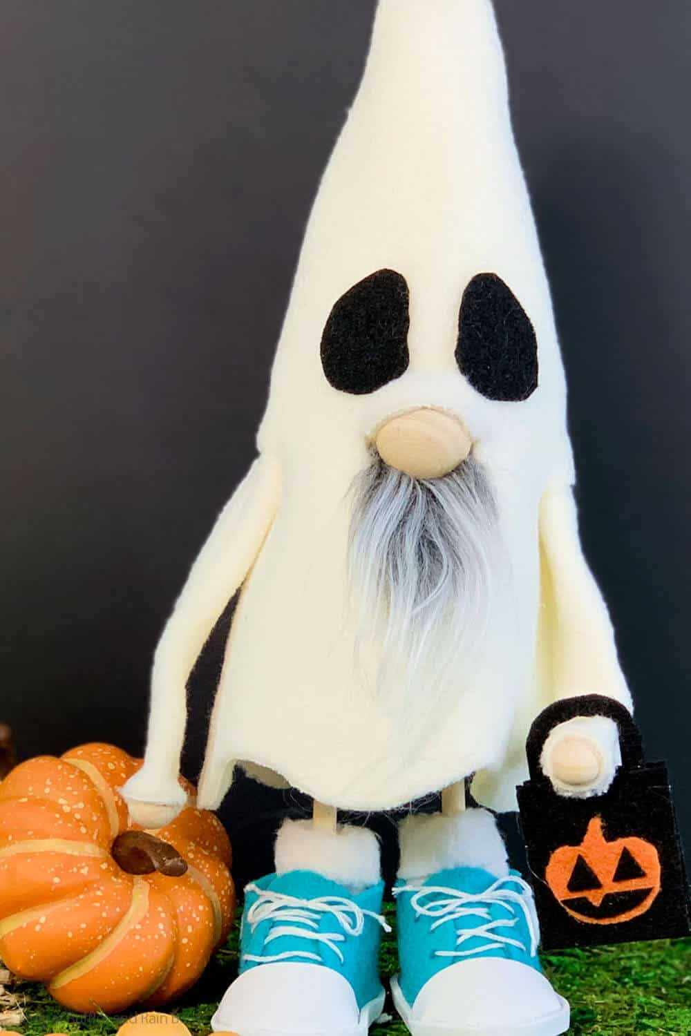 easy diy gnome in a costume as a ghost