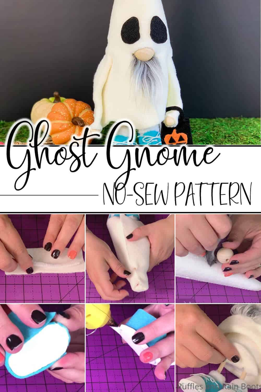 photo collage of easy halloween ghost gnome no-sew pattern with text which reads ghost gnome no-sew pattern