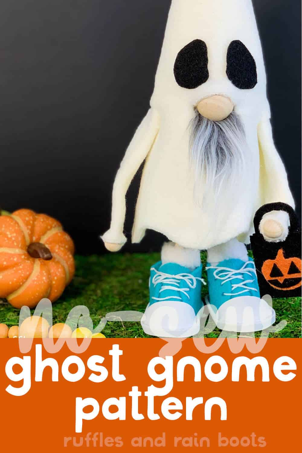 closeup of halloween standing gnome with shoes with text which reads no-sew ghost gnome pattern