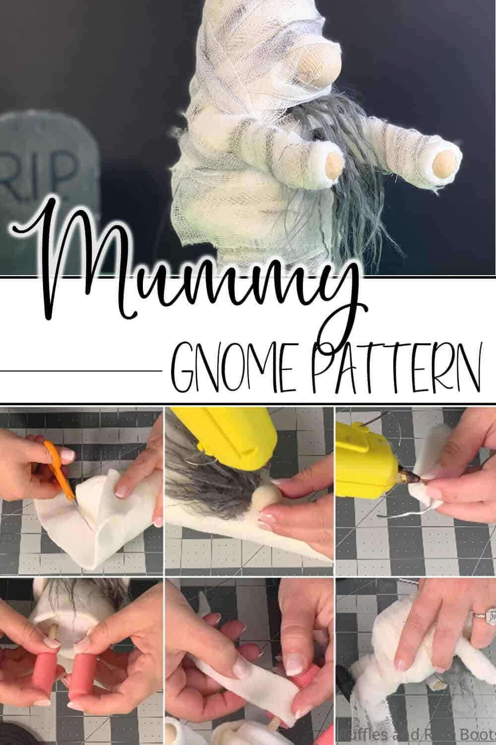 photo collage of easy gnome pattern for halloween with text which reads mummy gnome pattern
