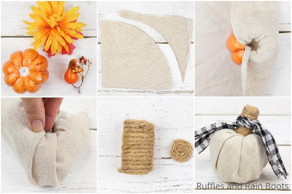 photo collage tutorial of how to make a dollar store fabric pumpkin