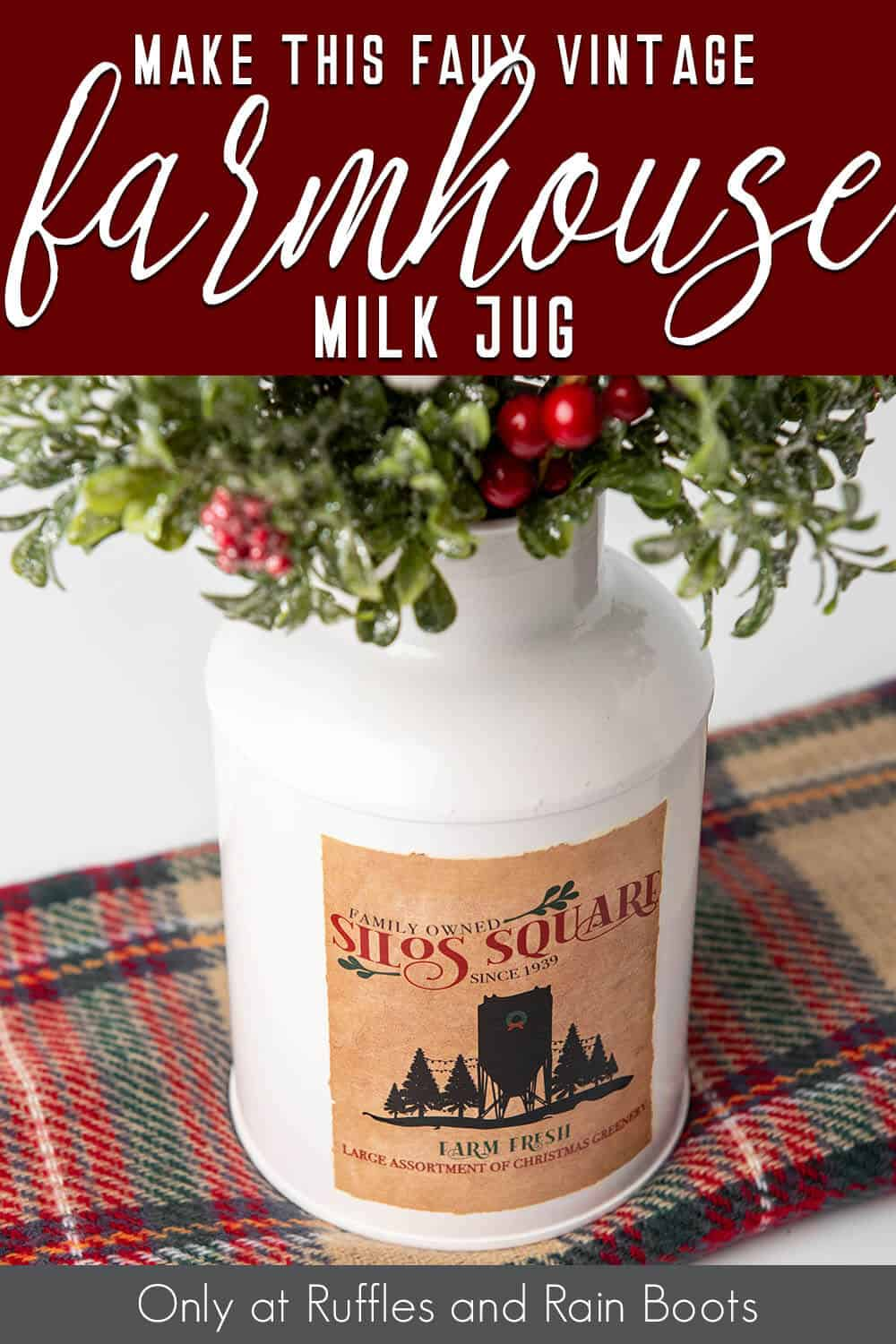 easy way to decorate a milk jug for farmhouse decor with text which reads make this easy vintage farmhouse milk jug