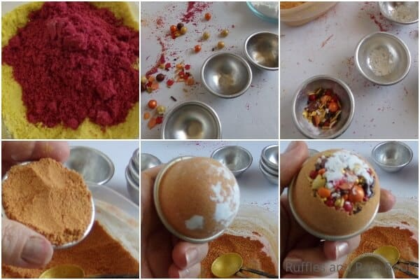 photo collage tutorial of how to make pumpkin spice bath bombs