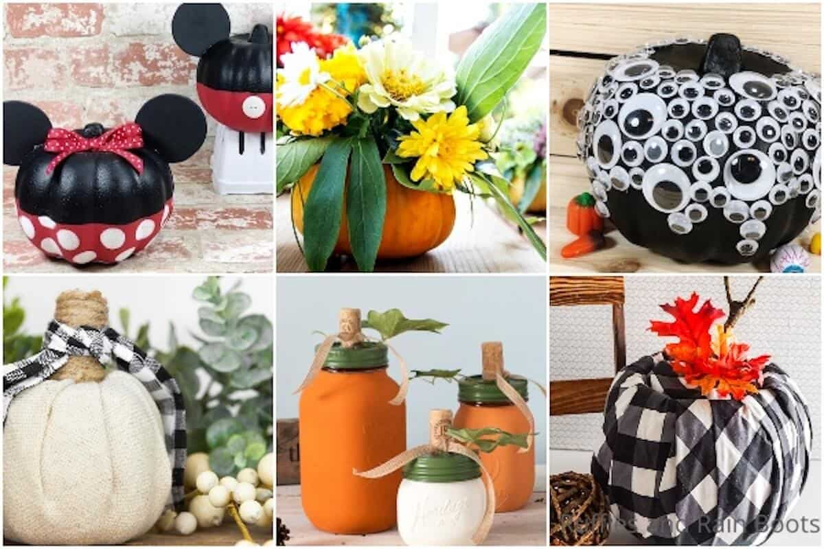 photo collage of dollar tree pumpkin decorating ideas for kids