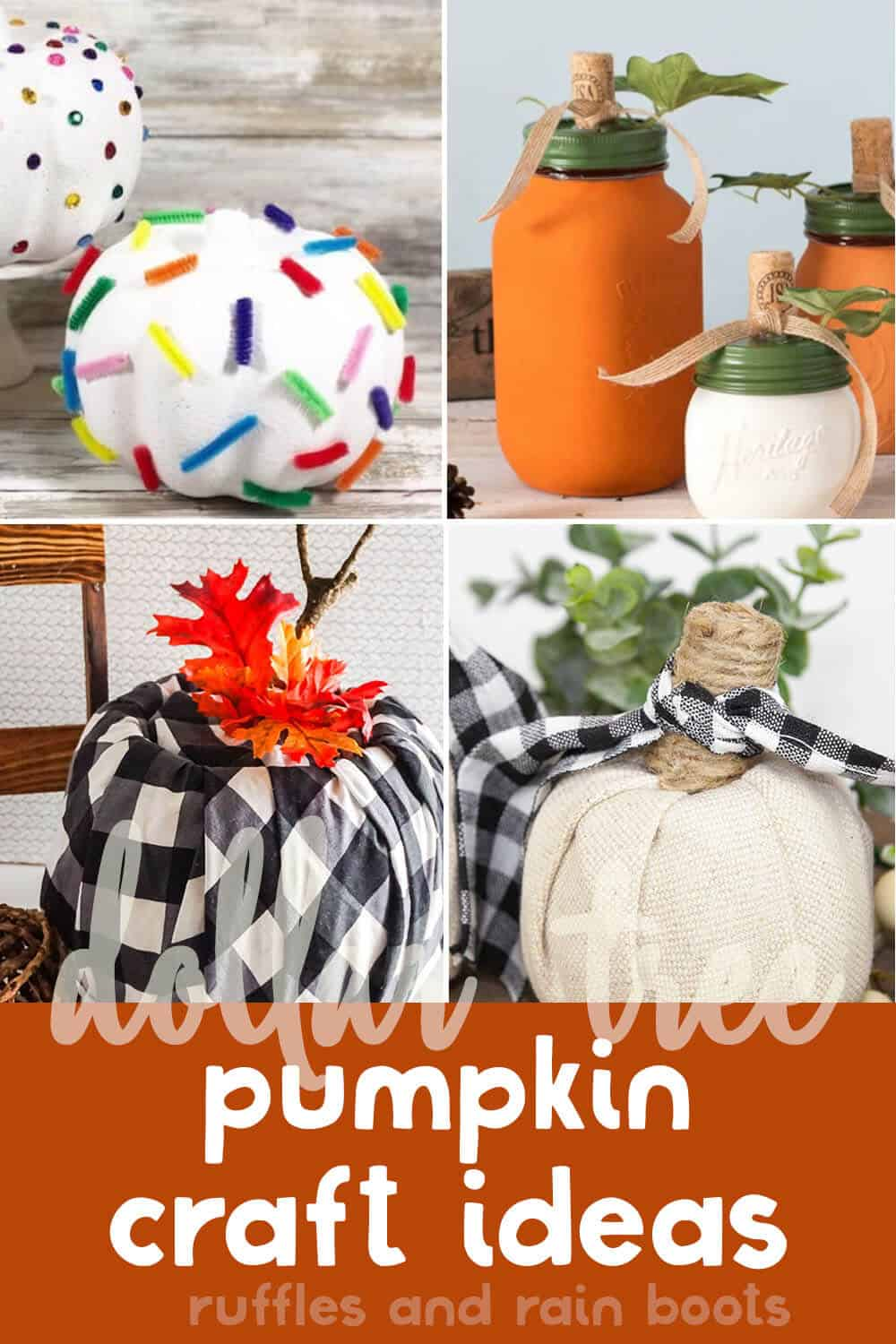 photo collage of easy no-carve pumpkin decorating ideas from the dollar store with text which reads dollar tree pumpkin craft ideas
