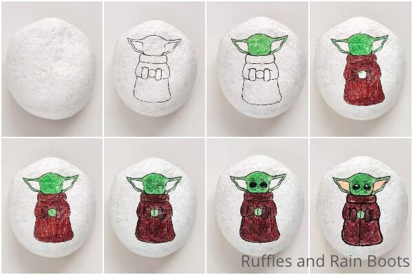photo collage tutorial of how to make a baby yoda painted rock