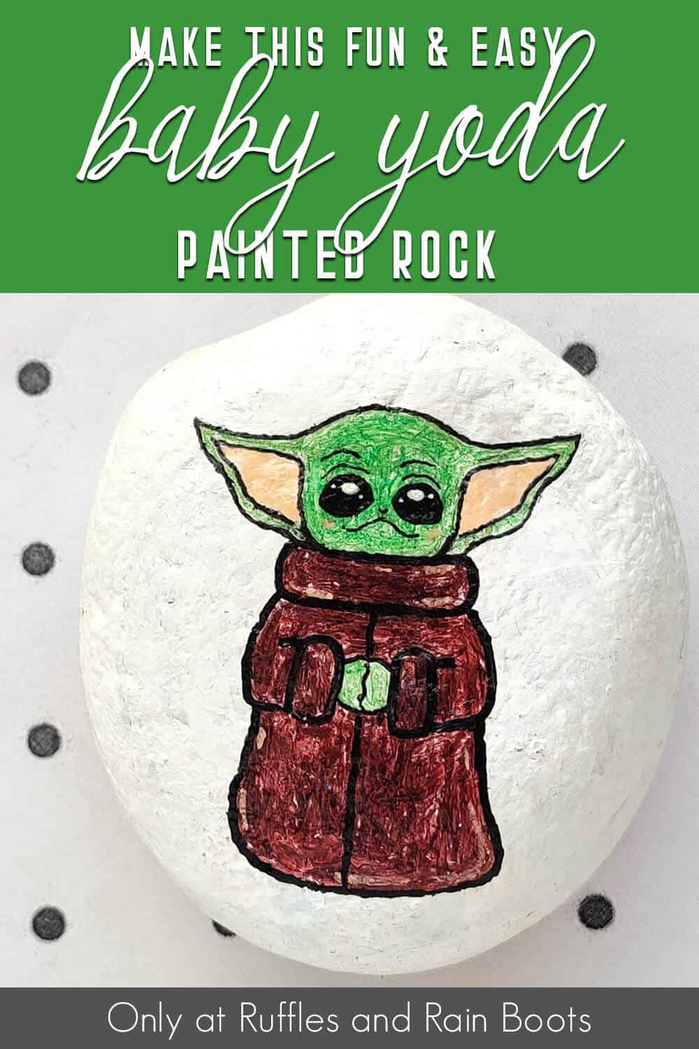 baby yoda kindness stone craft with text which reads make this fun & easy baby yoda painted rock