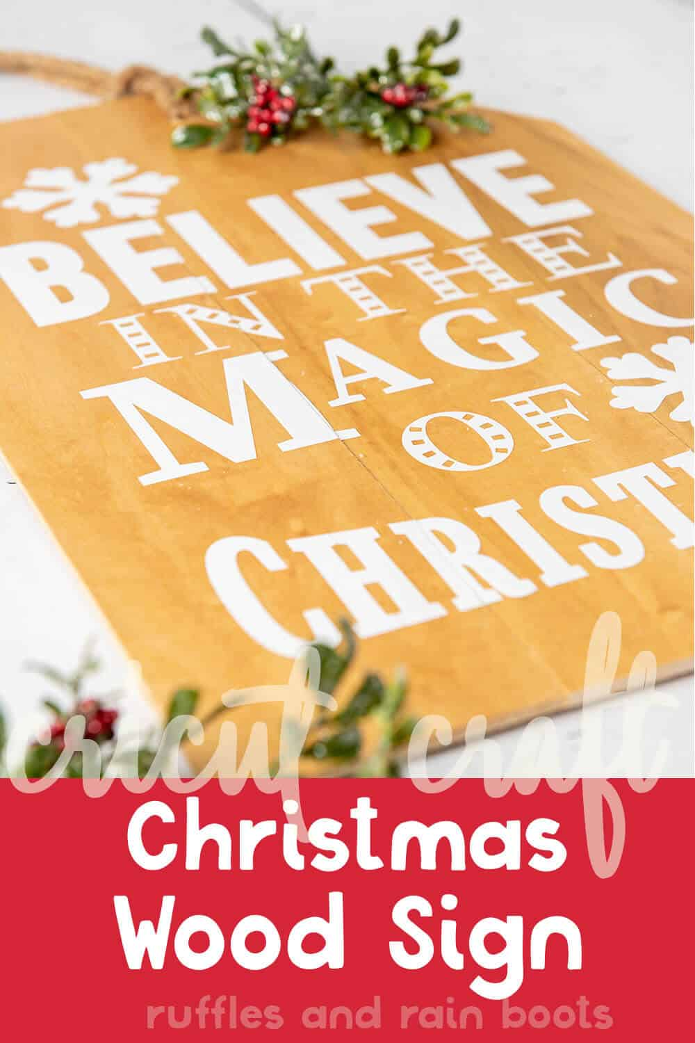 side view of easy diy cricut sign for christmas with text which reads cricut craft christmas wood sign