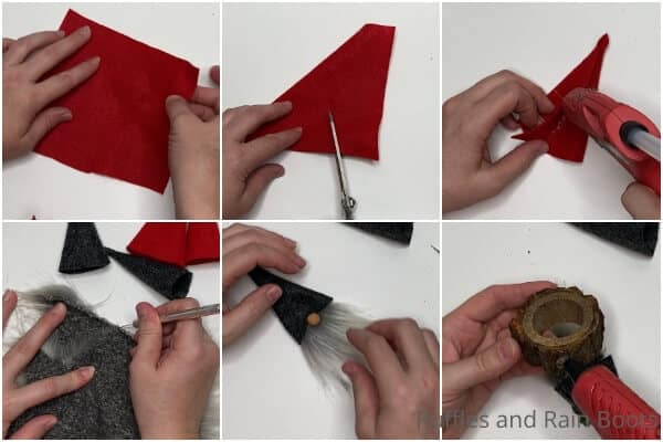 photo collage tutorial of how to make gnome napkin rings