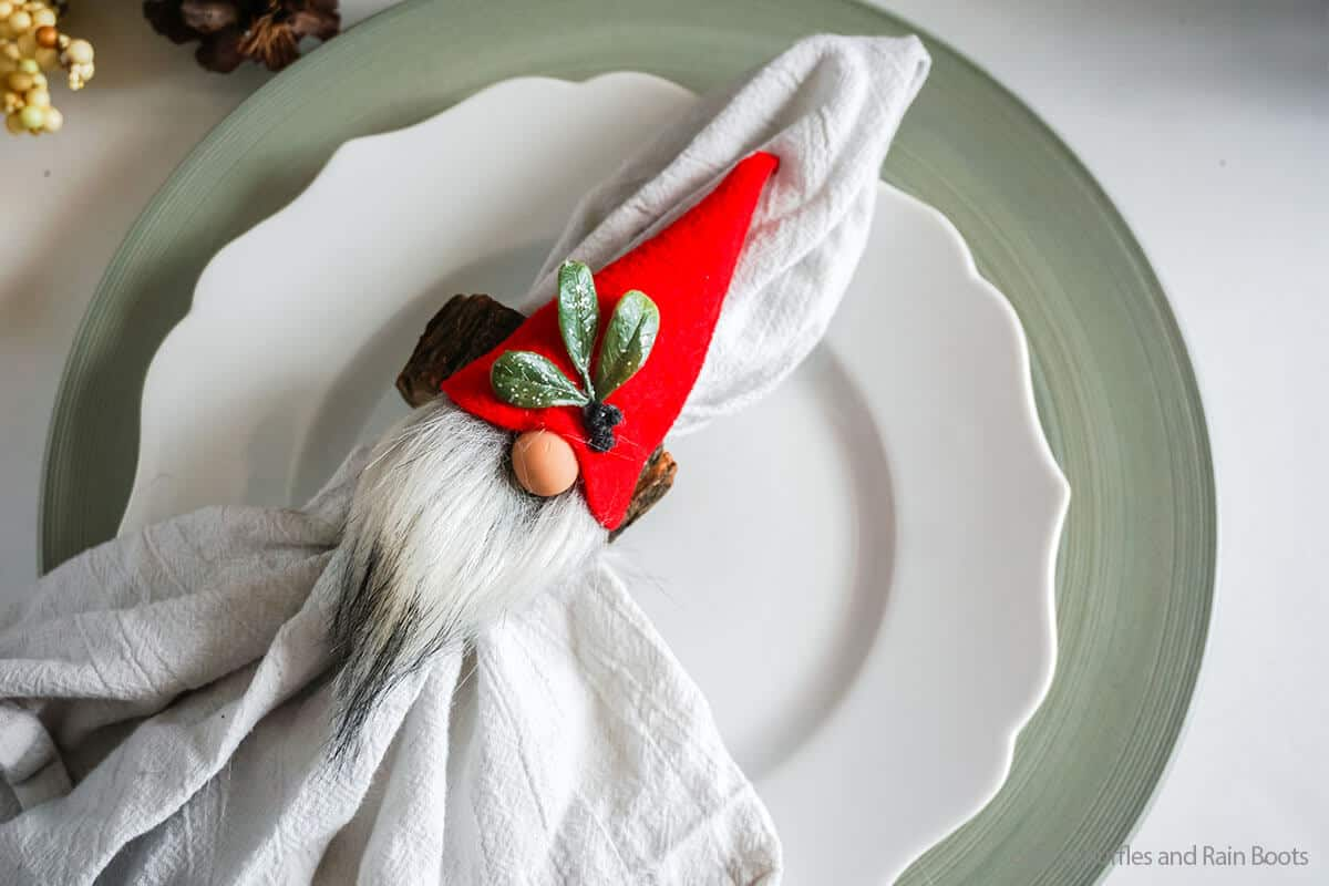 overhead view of fun no-sew gnome napkin ring craft