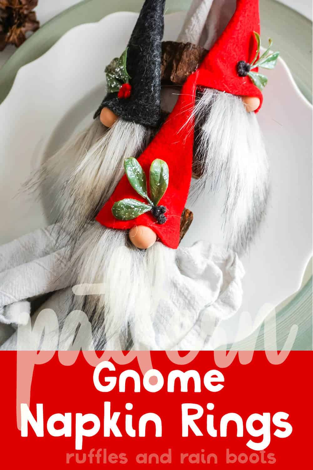 christmas gnome craft to make a gnome napkin ring with text which reads pattern gnome napkin rings