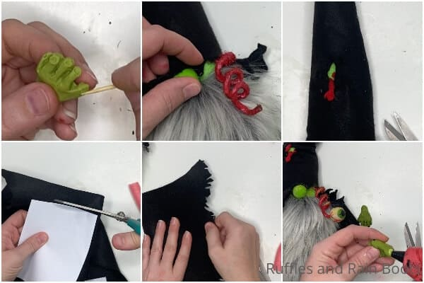 photo collage tutorial of how to make a zombie gnome for halloween decoration