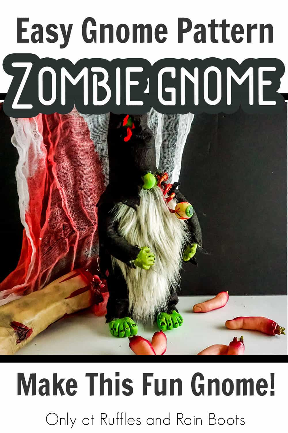easy zombie gnome no-sew pattern for gnomes with text which read easy gnome pattern zombie gnome make this fun gnome!