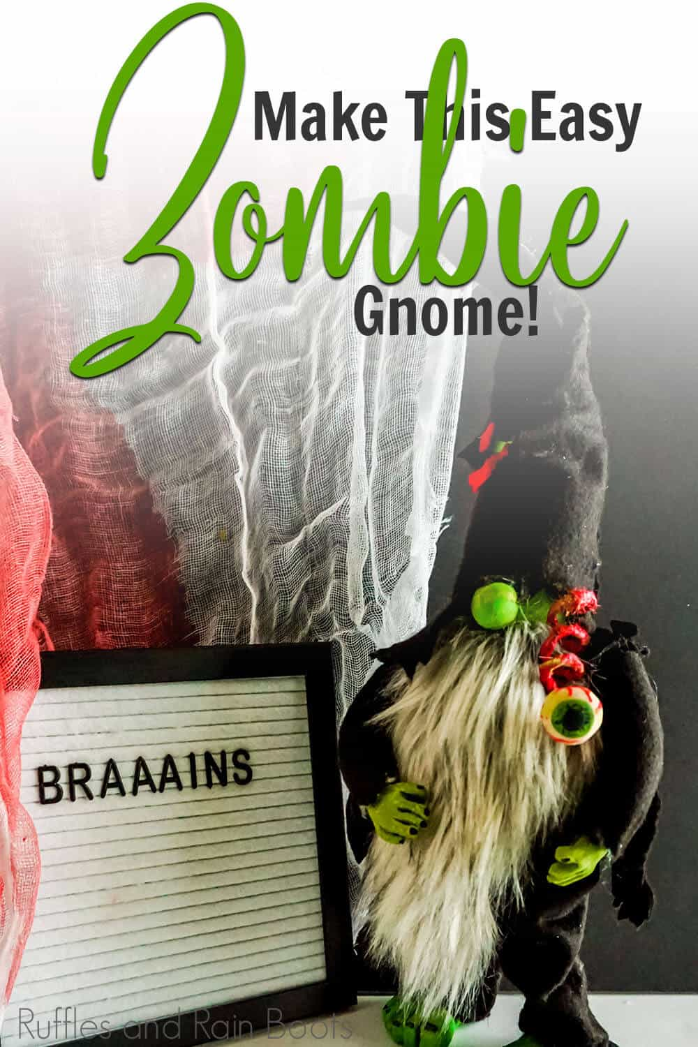 easy diy gnome farmhouse craft with text which reads make this easy zombie gnome!
