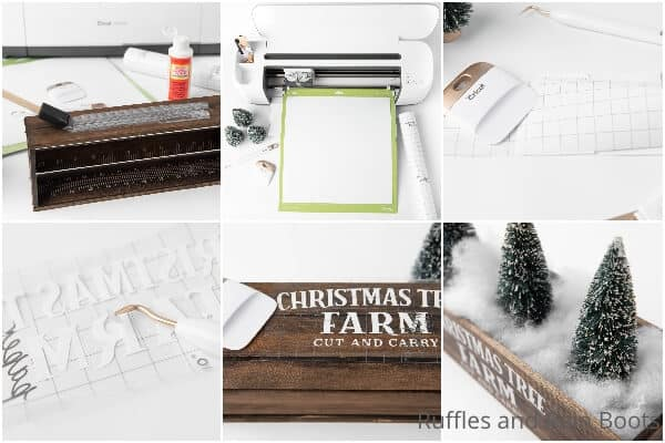 photo collage tutorial of how to make a christmas farmhouse centerpiece