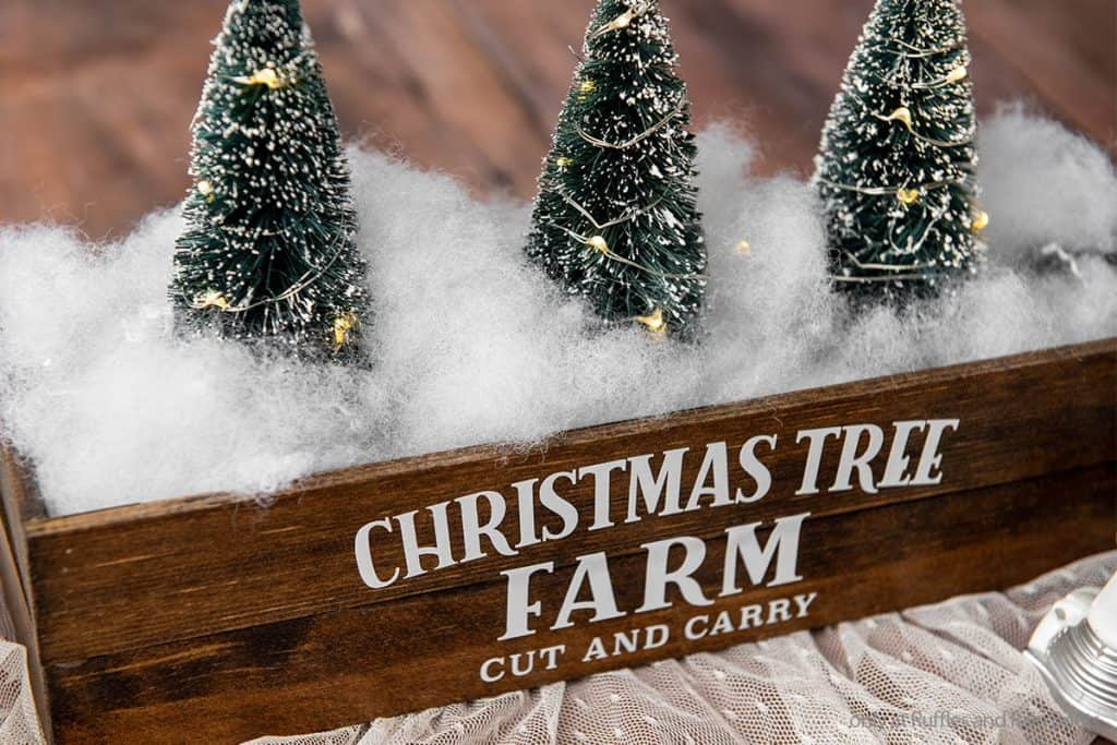diy farmhouse craft for christmas of christmas tree farm wood box centerpiece