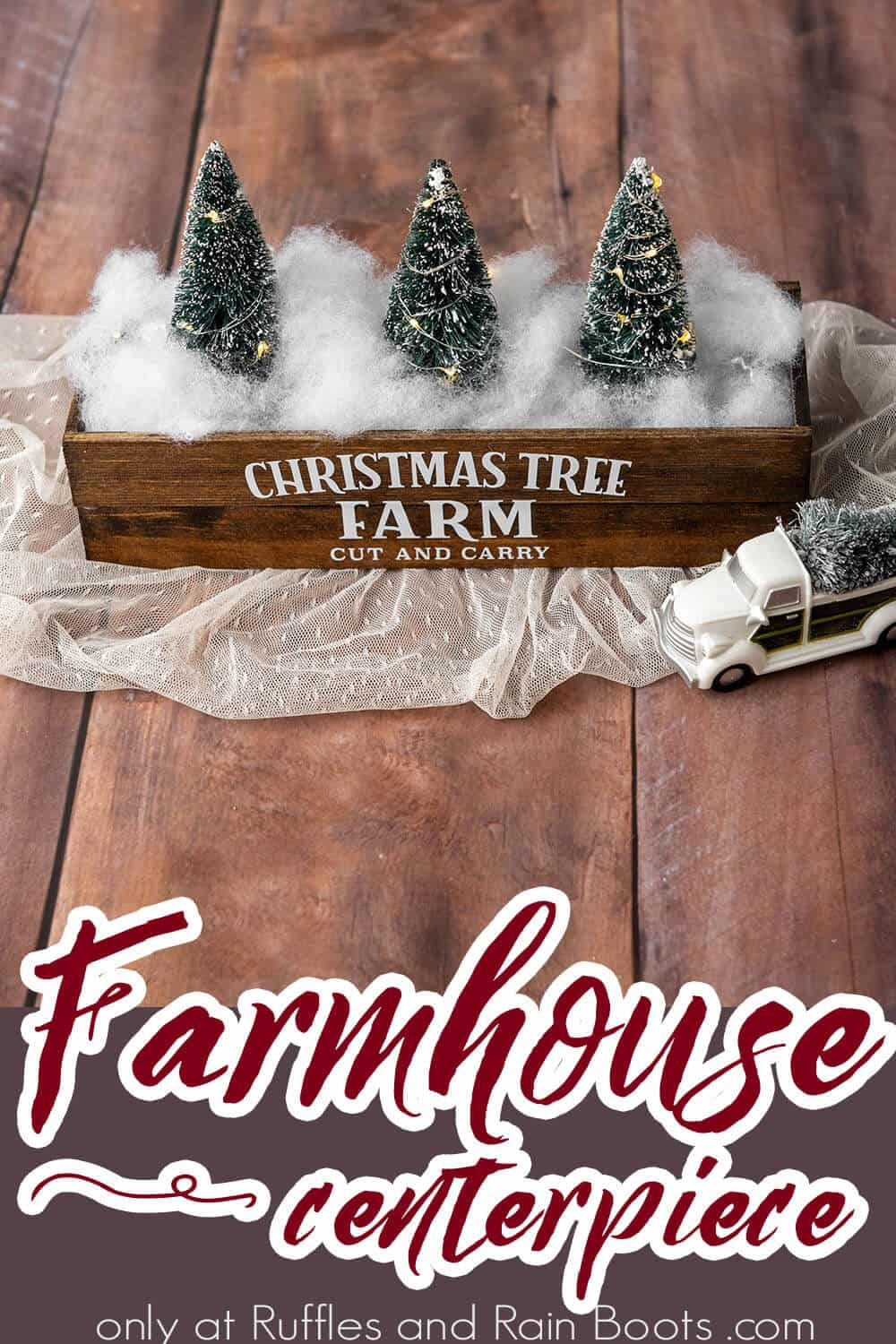 adorable holiday farmhouse centerpiece with text which reads farmhouse centerpiece