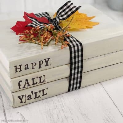 I Love This Fall Book Stack Easy Dollar Tree Craft