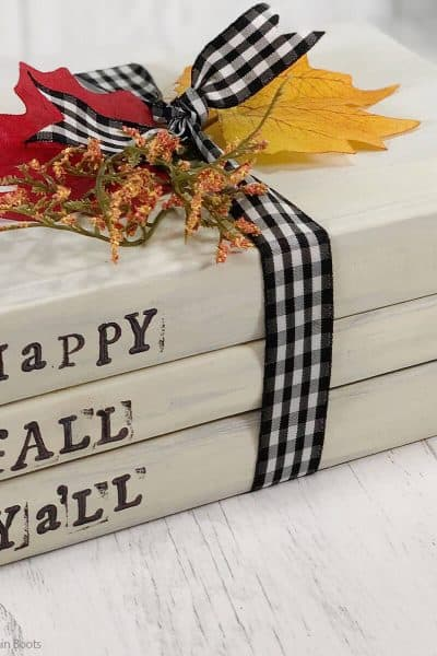 dollar store farmhouse craft of a fall book stack
