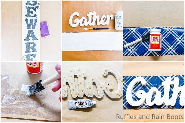 photo collage tutorial of how to make a dollar tree fall sign