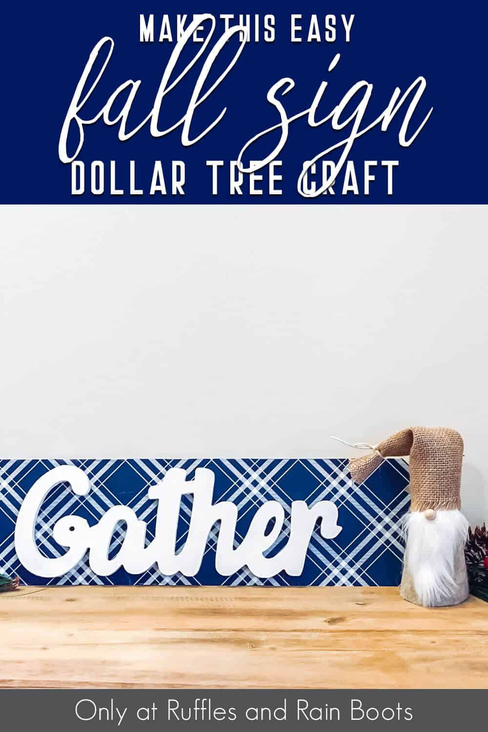 dollar tree craft with text which reads make this easy fall sign dollar tree craft