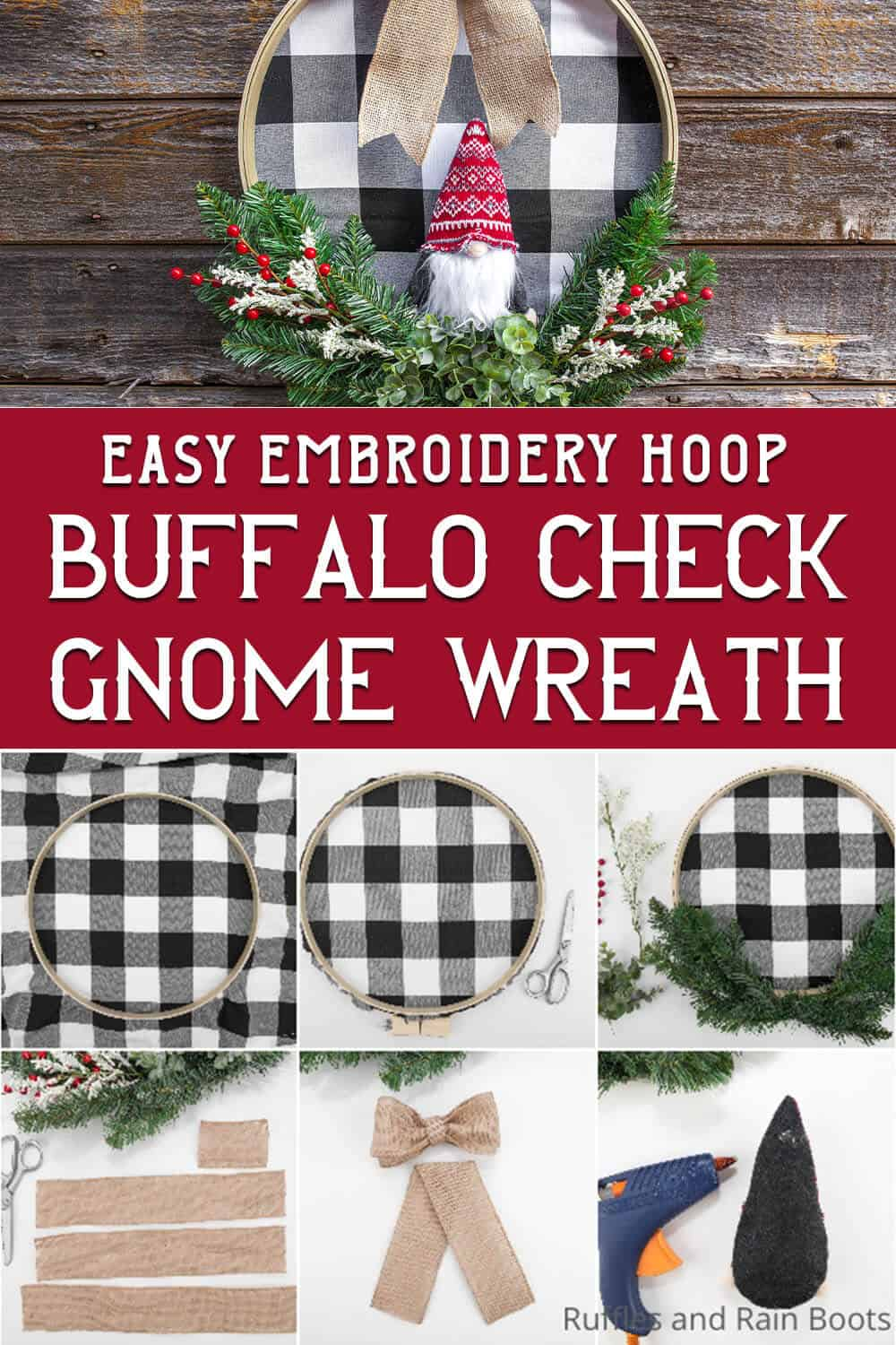 photo collage of buffalo check wreath with text which reads easy embroidery hoop buffalo check gnome wreath