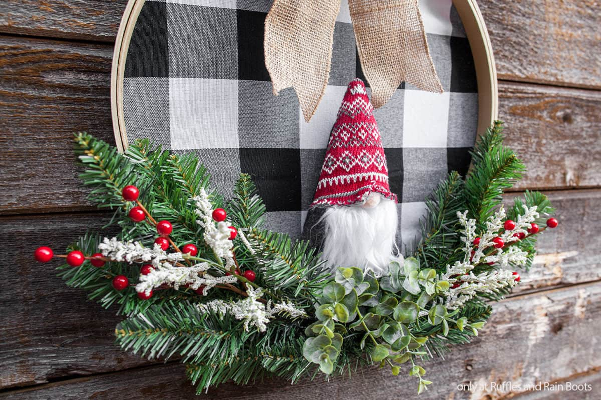 easy diy embroidery hoop wreath with a gnome ornament