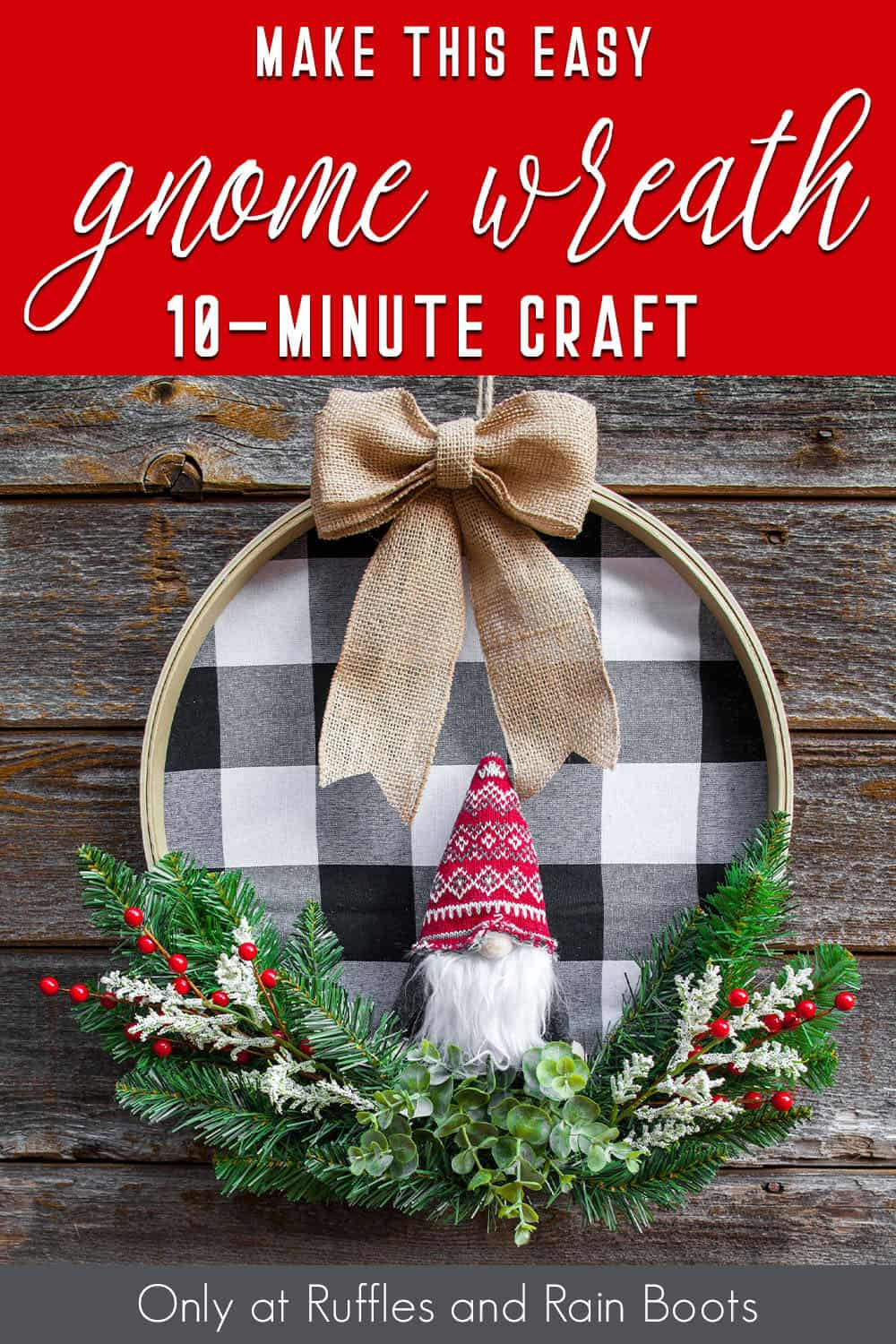 easy diy scandinavian gnome wreath using an embroidery hoop with text which reads make this easy gnome wreath 10-minute craft