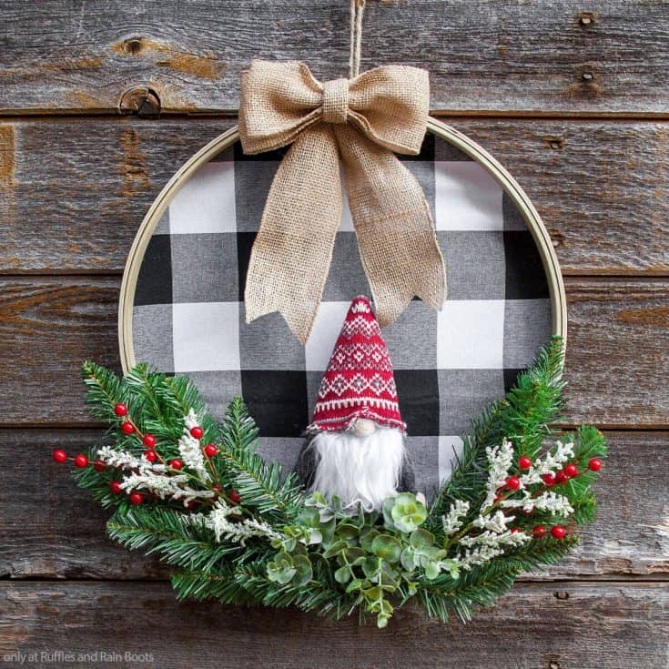 christmas farmhouse wreath using an embroidery hoop and a gnome ornament