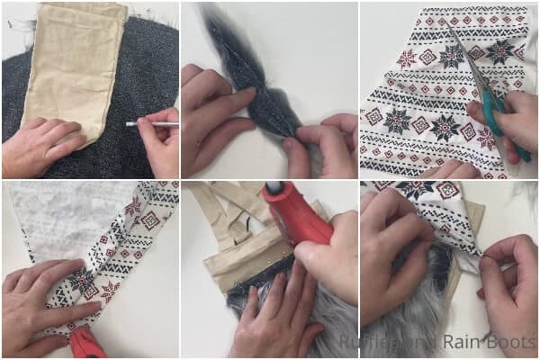 photo collage of how to make a wine bottle bag gnome