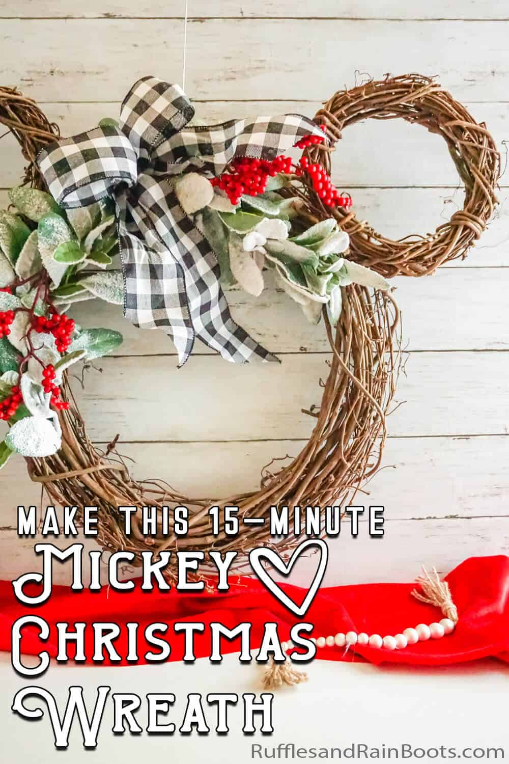 holiday mickey wreath with text which reads make this 15-minute mickey christmas wreath
