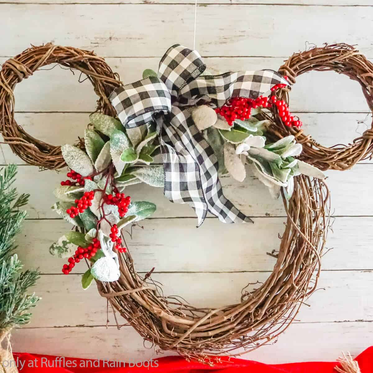 Mickey Winter Wreath from a Grapevine Wreath