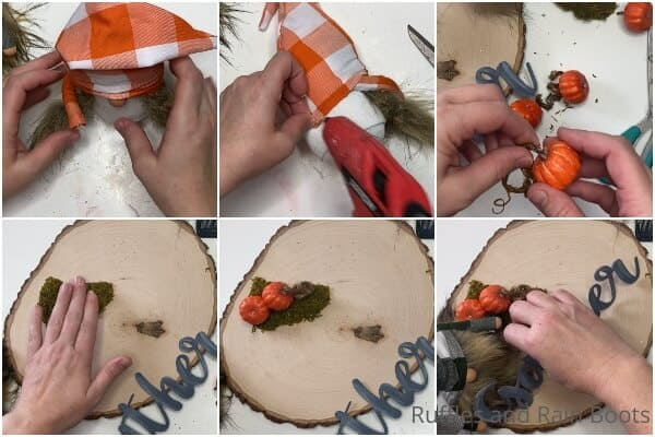 photo collage tutorial of how to make fall sock gnomes for farmhouse decor