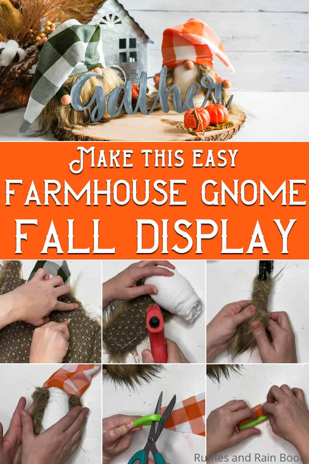 photo collage of easy fall gnome pattern with text which reads make this easy farmhouse gnome fall display