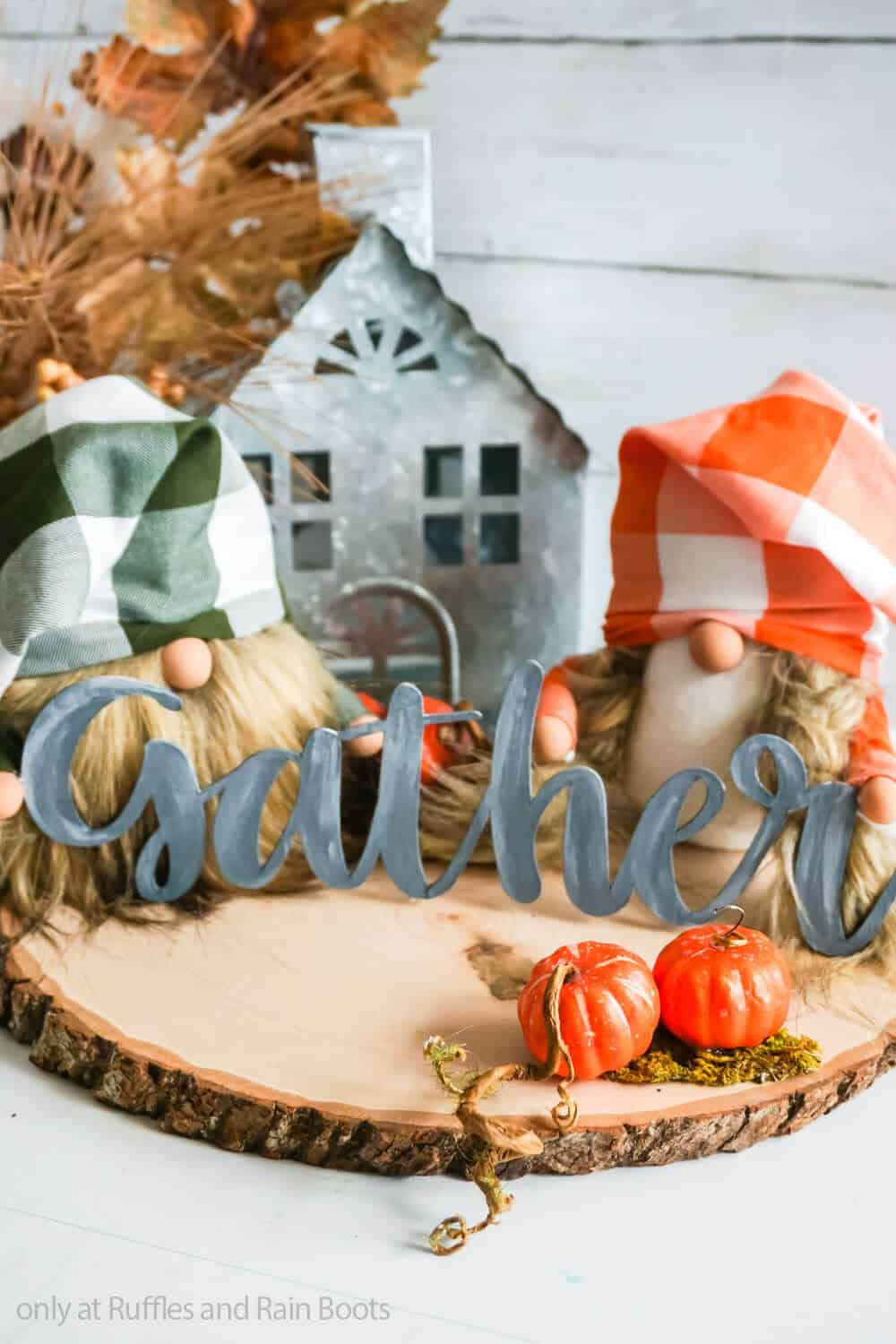 fall craft of sock gnomes with a gather sign